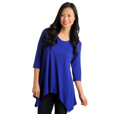 711-560 - Geneology Stretch Knit 3/4 Sleeve Twisted Scoop Neck Sharkbite Hem Top
