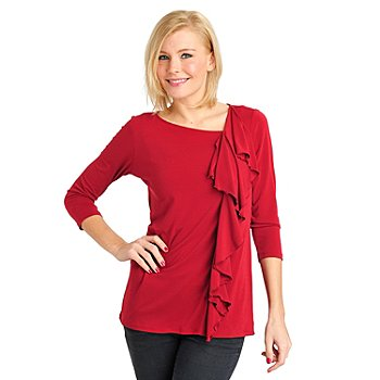 711-563 - Kate & Mallory Crepe Jersey 3/4 Sleeved Ruffle Front Knit Top