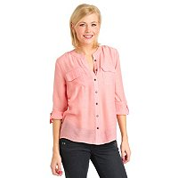 Kate & Mallory Band Collar Utility Shirt with Roll Tab Sleeve