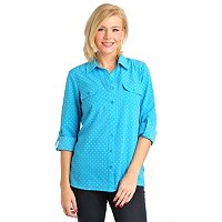 Kate & Mallory Printed Utility Shirt with Roll Tab Sleeve