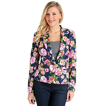 711-567 - Kate & Mallory Stretch Ponte Welt Pocket Fully Lined Printed Blazer