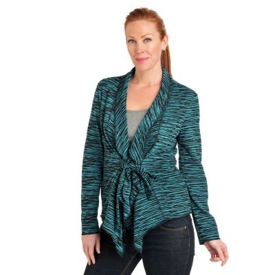 711-570 - Kate & Mallory Double Knit Space-Dyed Shawl Collar Tie Front Jacket