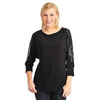 Glitterscape Dolman Sleeve Tunic with Studs