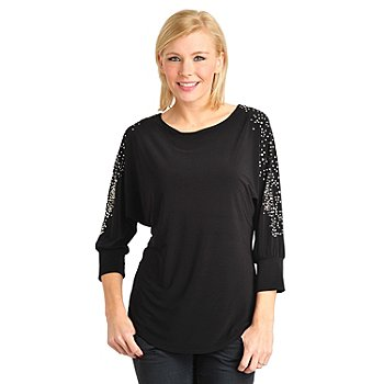 711-575 - Glitterscape Stretch Knit Dolman Sleeved Stud Detail Tunic Top