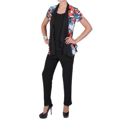 711-741 - Brinley Co. Women's Contemporary Short Sleeved Top & Pant Set