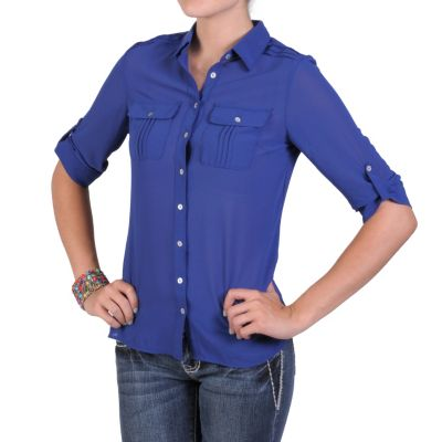 711-751 - Hailey Jeans Co. Women's Lightweight Button Up Pleated Blouse