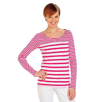 711-807 - OSO Casuals Dual Stripe Knit Long Sleeved Scoop Neck Top