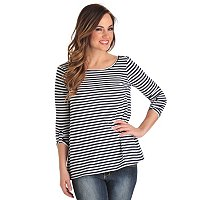 OSO Casuals 3/4 Sleeve Wide Neck Top with High Low Hem