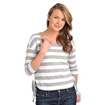 711-810 - OSO Casuals Stripe Knit 3/4 Sleeved Scoop Neck Side Tie Top