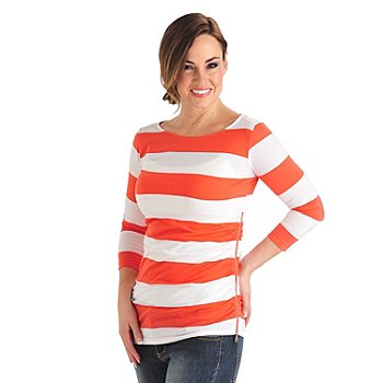 711-814 - OSO Casuals Stripe Knit 3/4 Sleeved Ruched Side Zipper Boat Neck Top