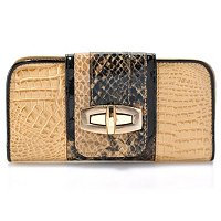 "Madi Claire ""SANDRA"" Croco Embossed Leather Wallet with Snake"