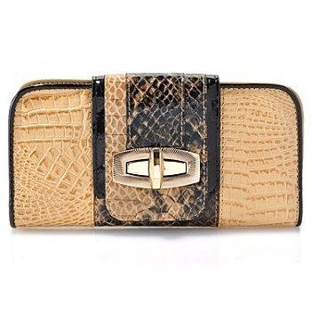 711-832 - Madi Claire Croco & Snake Embossed Leather ''Sandra'' Wallet