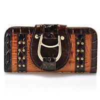 "Madi Claire ""GABBY"" Croco Embossed Leather Wallet with Antique Brass Hardware"