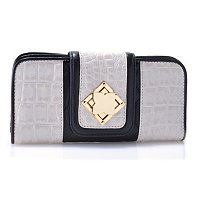 "Madi Claire ""MISTY"" Matte Croco Embossed Leather Wallet with Quilting"