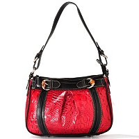 "Madi Claire ""JAMIE"" Croco Embossed Leather Pleated Shoulder Bag"
