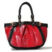 "Madi Claire ""JAMIE"" Croco Embossed Leather Pleated Tote"