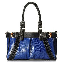"Madi Claire ""JAMIE"" Croco Embossed Leather Pleated Satchel"