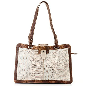 711-864 - Madi Claire Croco Embossed Leather ''Kayla'' Double Handle Tote Bag