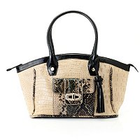 "Madi Claire ""SANDRA"" Croco Embossed Leather Satchel with Snake"