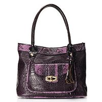 "Madi Claire ""SANDRA"" Croco Embossed Leather Tote with Snake"
