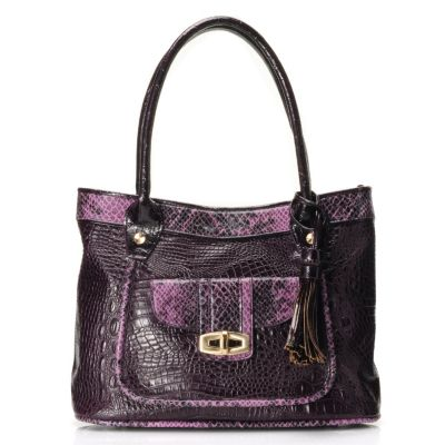 "711-866 - Madi Claire Croco & Snake Embossed Leather ""Sandra"" Tote Bag"