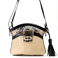 "Madi Claire ""SANDRA"" Croco Embossed Leather Crossbody with Snake"
