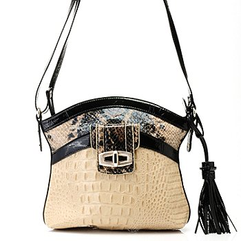 711-867 - Madi Claire Croco & Snake Embossed Leather ''Sandra'' Cross Body Bag