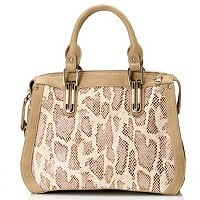"Madi Claire ""CASANDRA"" Snake Embossed Leather Satchel"