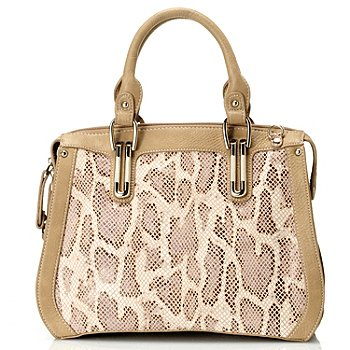 711-868 - Madi Claire Leather ''Cassandra'' Snake Embossed Satchel Bag