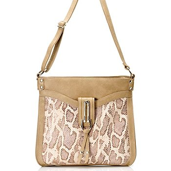711-869 - Madi Claire Leather ''Cassandra'' Snake Embossed Cross Body Bag
