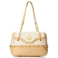 "Madi Claire ""MISTY"" Matte Croco Embossed Leather Flap Bag with Quilting"