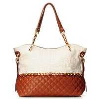 "Madi Claire ""MISTY"" Matte Croco Embossed Leather Tote with Quilting"