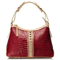 "Madi Claire ""LAUREN"" Croco Embossed Leather Hobo with Natural Trim & Stids"