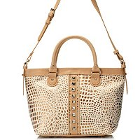 "Madi Claire ""LAUREN"" Croco Embossed Leather Tote with Natural Trim & Stids"
