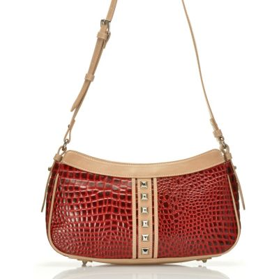 "711-875 - Madi Claire Croco Embossed Leather ""Lauren"" Pyramid Studded Shoulder Bag"