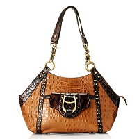 "Madi Claire ""GABBY"" Croco Embossed Leather Tote with Antique Brass Hardware"