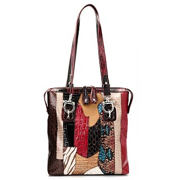 711-878 - Madi Claire Croco Embossed Leather ''Alyssa'' Multi Media Tote Bag
