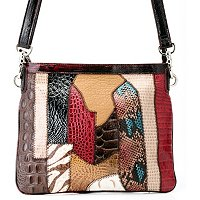 "Madi Claire ""ALYSSA"" Croco Embossed Leather Multi Media Crossbody"