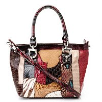 "Madi Claire ""ALYSSA"" Croco Embossed Leather Multi Media Satchel"