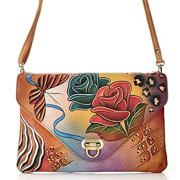 711-881 - Anuschka Hand Painted Leather Envelope Clutch w/ Shoulder Strap
