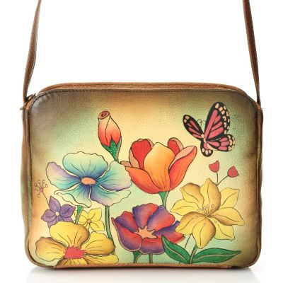 711-882 - Anuschka Hand Painted Leather Zip Top Cross Body Bag