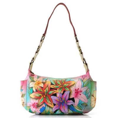 711-884 - Anuschka Hand Painted Leather Zip Top East-West Handbag