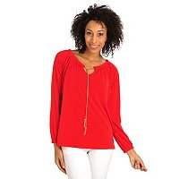 Kate & Mallory Long Sleeve Draw Chain Scoop Neck Top