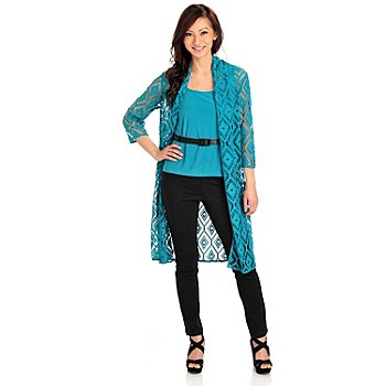 711-920 - Kate & Mallory Crochet Open Front Duster w/ Stretch Knit Layering Tank Top
