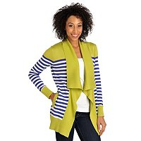 Kate & Mallory Stripe Cardigan with Solid Yoke and Shawl