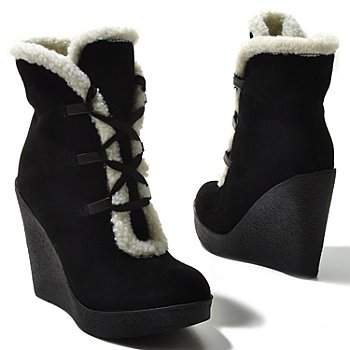 711-959 - MIA Suede Leather ''Glenda'' Sherpa Lined Wedge Boots