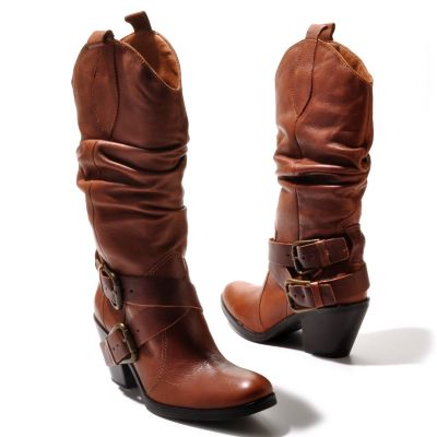 "711-967 - Matisse® Leather ""Willie"" Mid-Height Slouch Boots"