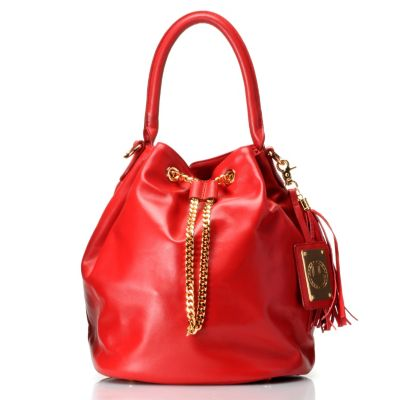 "711-969 - Jack French London Leather ""The Kingly"" Drawstring Bucket Bag"