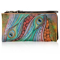 Anuschka Zip Around Clutch Wristlet w/ Swarovski Crystal Detail