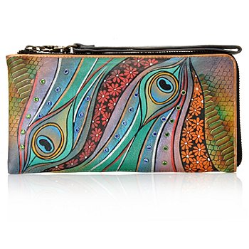 711-981 - Anuschka Hand-Painted Leather Wristlet Made w/ Swarovski® Elements